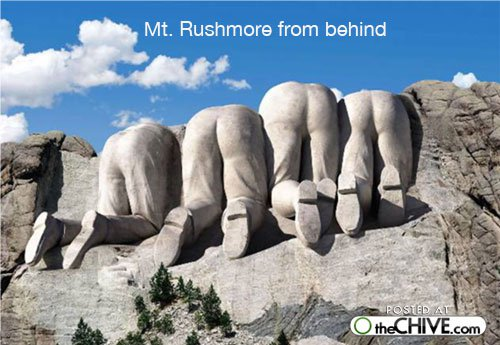 Mount Rushmore from behind